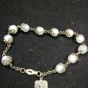 Art deco jewelry sterling silver faux pearl